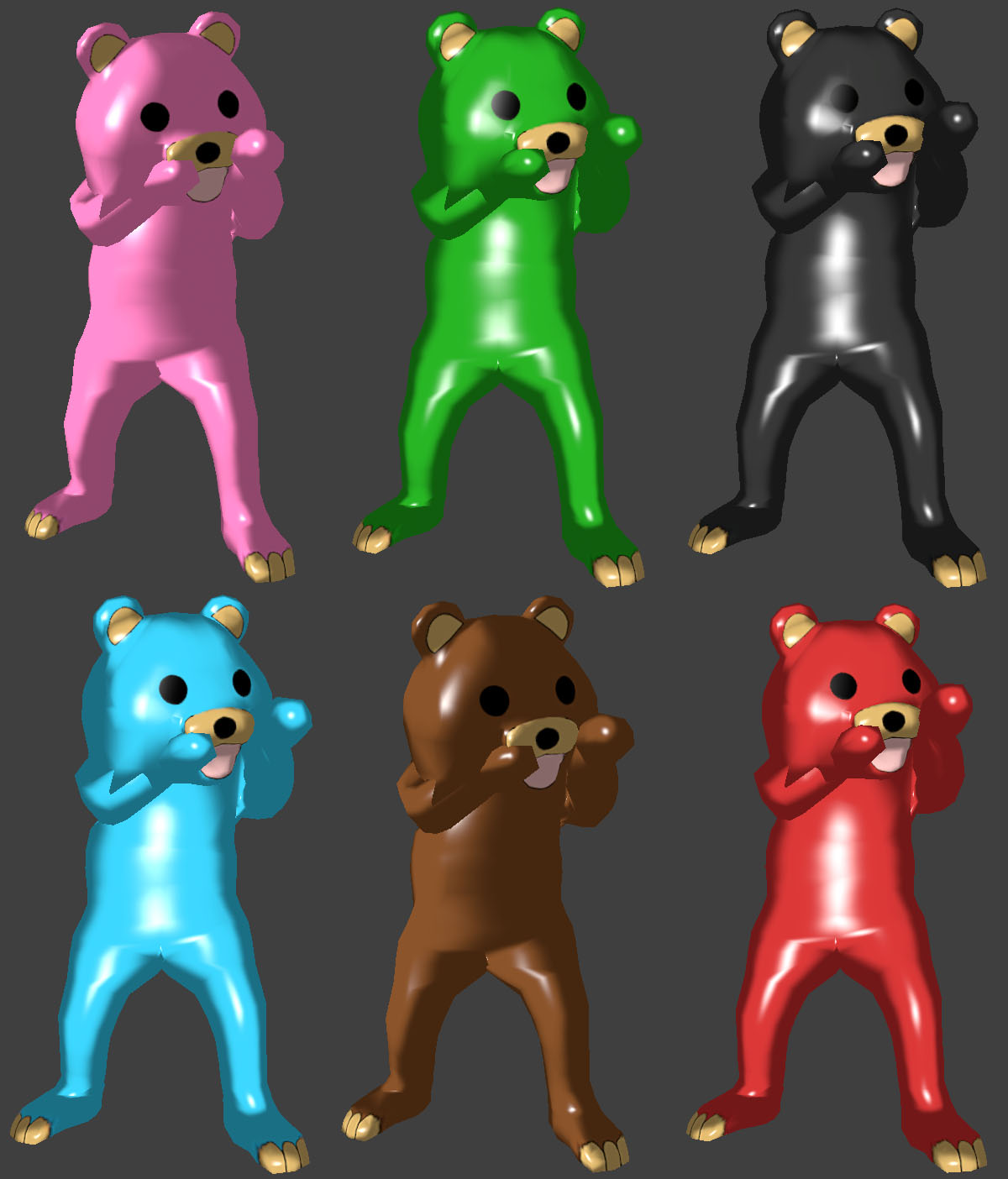 Pedobear Pack (KnifeLemon - Pink, Green, Black, Blue, Brown, Red)