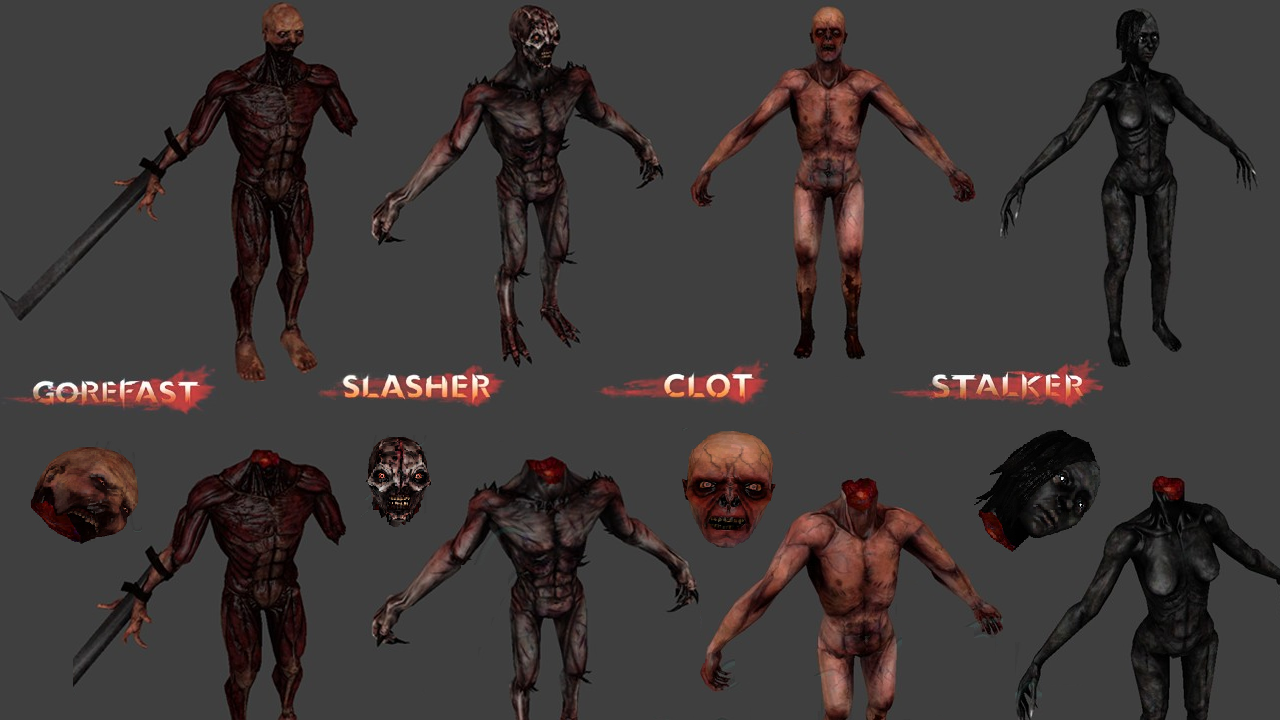 Zeds Pack (GoreFast, Slasher, Clot, Stalker - Decapitation Support)