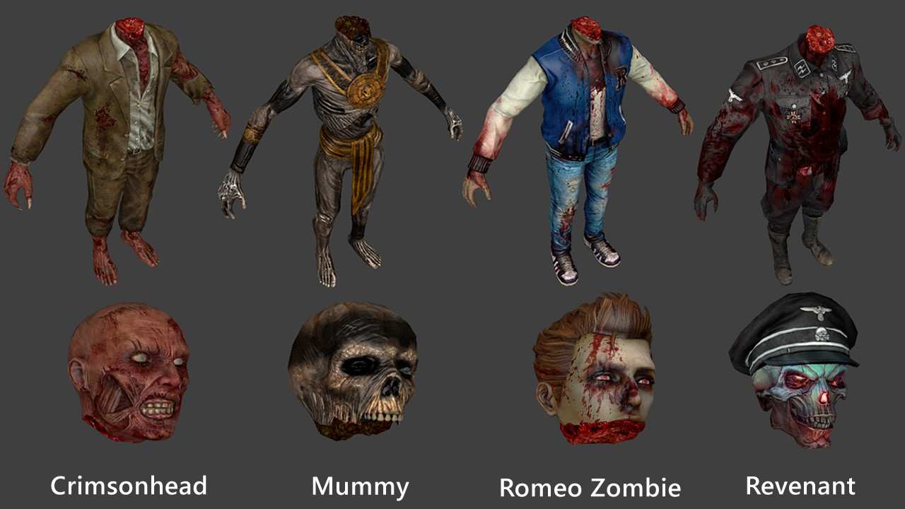Zombie Pack 1 (Crimson Head, Revenant - Nazi Zombie, Mummy, Romeo Zombie - Decapitation Support)