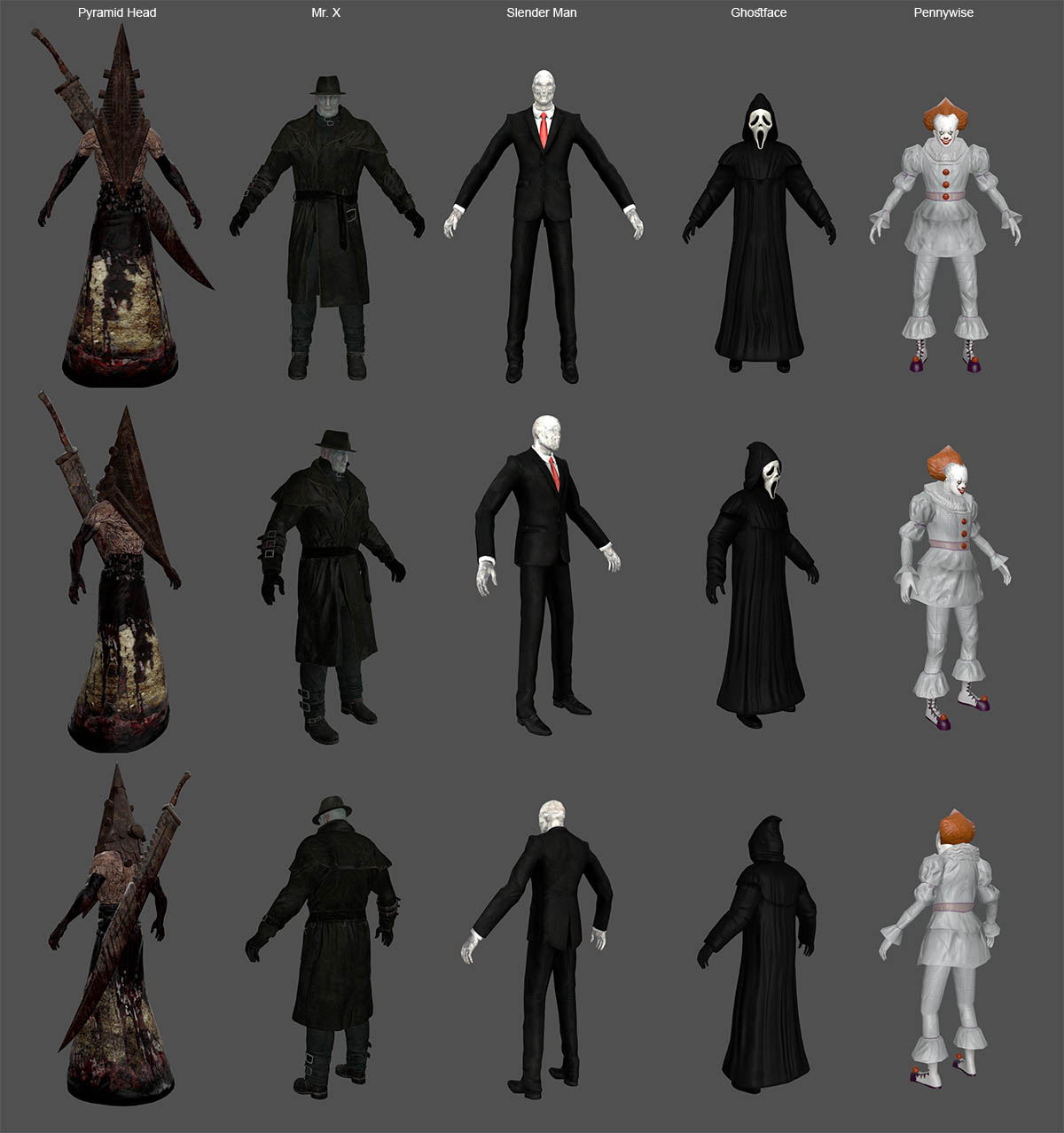 Pyramid, MrX, SlenderMan, GhostFace, PennyWise - Horror Pack