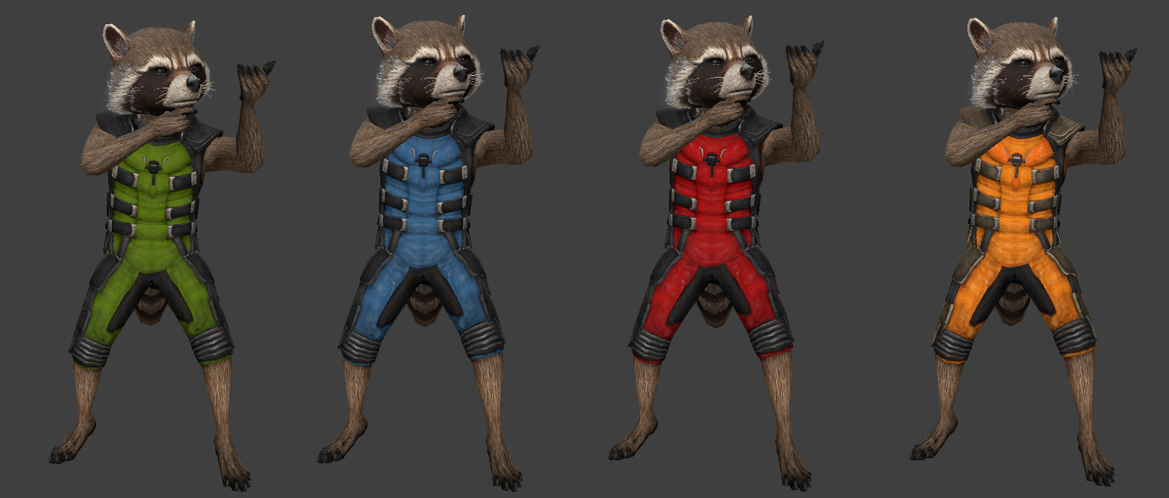 Rocket Raccoon Pack (Green, Blue, Red & Yellow)